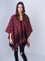 Missy Empire Maude Wine Tweed Knitted Cape