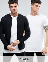 Asos Jersey Bomber Jacket/T-Shirt In Black/White SAVE