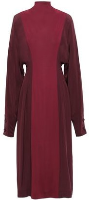 Victoria Beckham Two-tone Silk Crepe De Chine And Twill Turtleneck Midi Dress