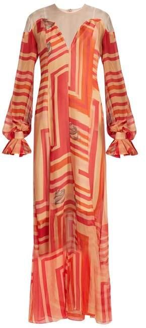 Katie Eary Geo-print silk-chiffon maxi dress