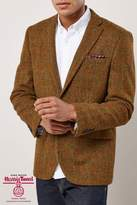 Next Mens Mustard Signature Harris Tweed Wool Tailored Fit Jacket - Orange