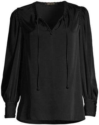 Kobi Halperin Alessandra Drawstring Chiffon-Silk Blouse