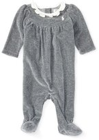 Ralph Lauren Heathered Velour Footed Coverall, Gray, Size 3-9 Months