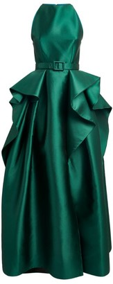 Azzi & Osta Satin Ruffle-Panel Gown