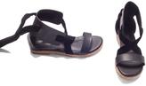 Black Bow-Detail Roman Sandal
