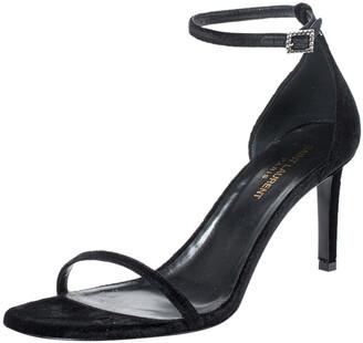 Saint Laurent Paris Black Suede Jane Ankle Strap Sandals Size 39.5