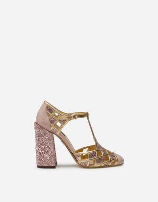 Dolce & Gabbana Polished Crocodile Print T-Strap Shoes With Mini Rhinestones