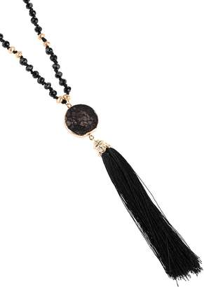 Riah Fashion Stone Charm With Tassel Necklace