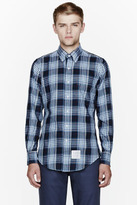 Thom Browne Blue plaid flannel classic shirt