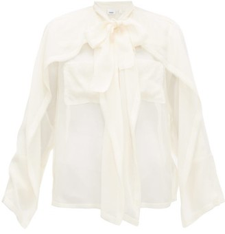 Burberry Pussy-bow Panelled Silk-chiffon Blouse - Womens - Ivory