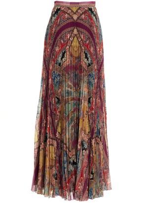 Etro Mixed Print Pleated Skirt