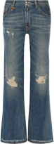 R 13 Jane distressed mid-rise flared jeans