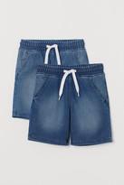 H&M 2-pack Denim Pull-on Shorts - Blue