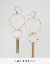 NY:LON Gold Plated Double Hoop Chain Drop Though Earrings