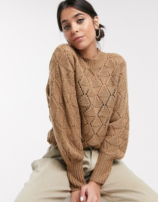Kaffe cable knit jumper in tan