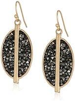 "Kenneth Cole New York Highlines"" Black Diamond Sprinkle Stone Oval Drop Earrings"