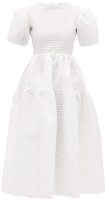 Cecilie Bahnsen Katja Tiered Tie-back Seersucker Dress - Womens - White