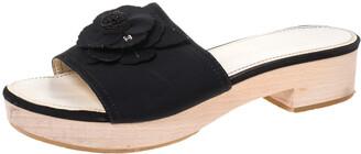 Chanel Black Canvas Camellia Wooden Platform Sandals Size 39
