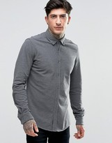 Scotch & Soda Shirt In Plique Stretch Slim Fit In Charcoal Marl