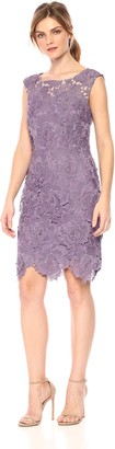 Nicole Miller Women's 3D lace Scallop Fitted Cocktail Dress