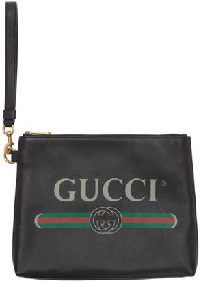 Gucci Black Logo Portfolio Pouch