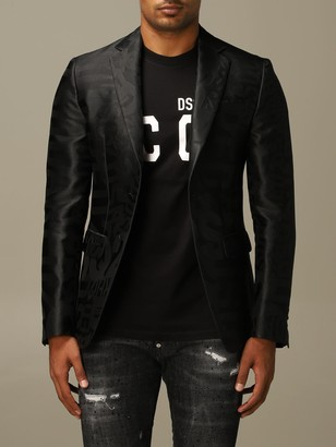 DSQUARED2 Blazer Tuxedo Jacket In Silk Blend With All Over Jacquard Logo