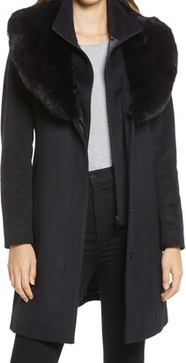 Via Spiga Faux Fur Collar Wool Blend Coat