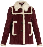 Miu Miu Faux shearling-trimmed cotton-corduroy pea coat