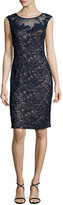 La Femme Cap-Sleeve Beaded Lace Sheath Dress