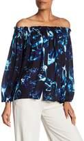 Nicole Miller Smocked Off-the-Shoulder Silk Blouse