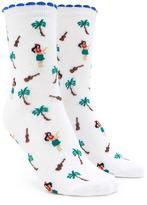 Forever 21 FOREVER 21+ Palm Tree Print Crew Socks