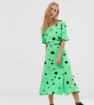 Reclaimed Vintage inspired midi two-piece skirt with button front in spot ditsy print-Green