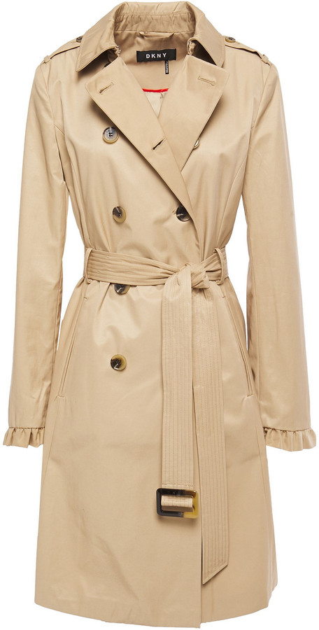 DKNY Belted Ruffle-trimmed Cotton-blend Shell Trench Coat