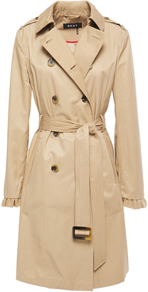 DKNY Ruffle-trimmed Cotton-blend Trench Coat