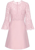 Valentino Lace-trimmed wool and silk dress
