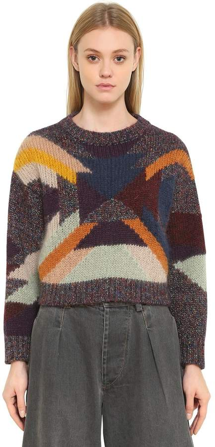 Isabel Marant Intarsia Wool Mohair Cropped Sweater