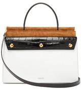 Burberry Title Panelled Leather Small Bag - Womens - White Multi