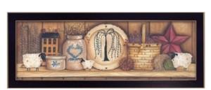 "Trendy Décor 4U Shelf Gathering By Mary June, Printed Wall Art, Ready to hang, Black Frame, 32"" x 12"""