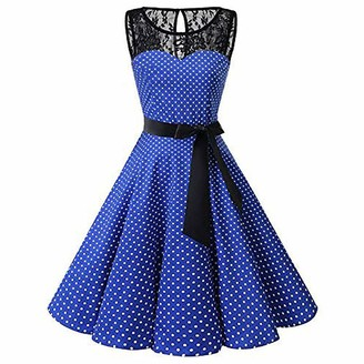 Homebaby Women Dress Women Vintage 1950s Dress Polka Dot Sexy Lace Hepburn Party Dress Casual