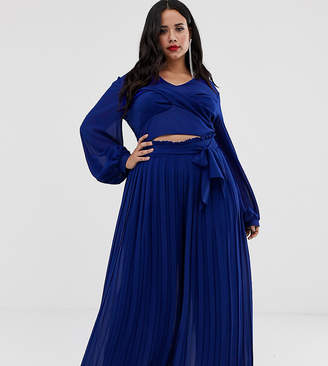 TFNC Plus Plus pleated wide leg pants co-ord with tie waist in cobalt