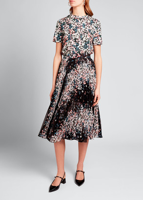 Erdem Floral Print Plisse Midi Skirt