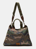 Valentino Men's Camouflage Canvas Tote Bag In Khaki