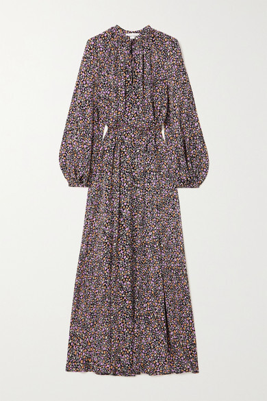Matteau + Net Sustain Floral-print Silk Maxi Dress - Purple