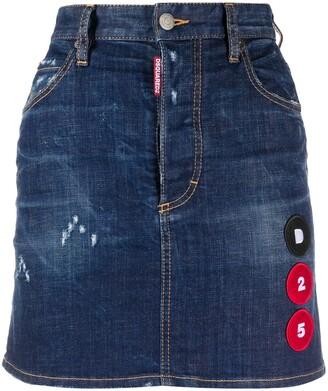 DSQUARED2 multi-patch A-line denim skirt
