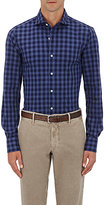 "Finamore Men's ""Eduardo P"" Gingham Cotton Shirt-NAVY"