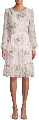 Calvin Klein Floral-Print Chiffon Dress