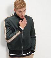 New Look Dark Green Sateen Stripe Sleeve Bomber Jacket