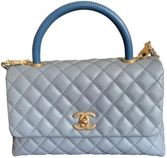 Chanel Coco Handle Blue Leather Handbags