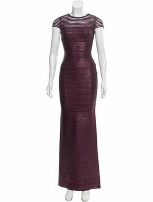 Herve Leger Bandage Evening Gown purple