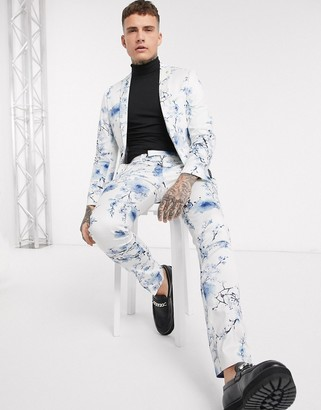 Twisted Tailor super skinny suit trousers with blue floral print in white